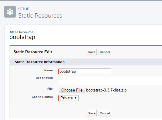 Static Resource bootstrap