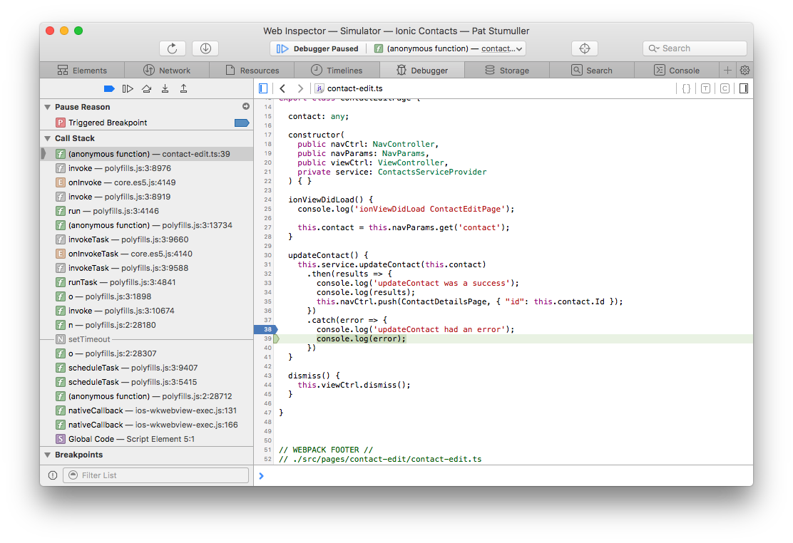 Salesforce Mobile SDK and Ionic – Debugging iOS